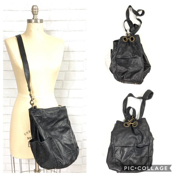 Liebeskind Black Leather Crossbody / Bucket Bag